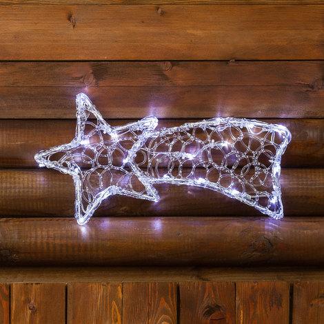 Stella Di Natale A Batteria.Stella Cometa A Batteria Acrylic Ice 40 X 20 Cm 20 Led Bianco