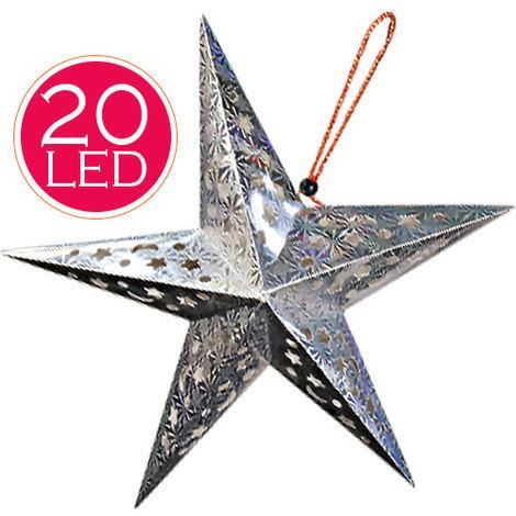 Stella Albero Di Natale Luminosa.Stella Decorazione Natale Luminosa Batterie 20 Led Superfice Olografica 55x55cm
