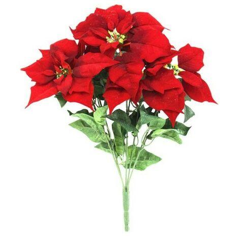 Stella Di Natale Artificiale.Stella Di Natale 5 Steli Colore Rosso