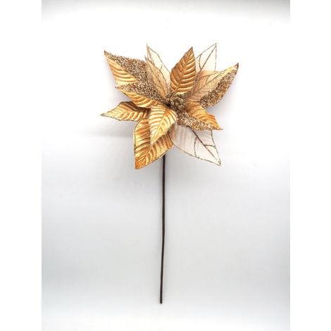 Stella Di Natale Con Perline.Stella Natale Velluto Con Perline Oro 49 5x27cm Addobbi Albero Natale
