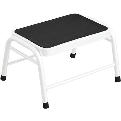 Step Stool,White Metal,Rubber Mat