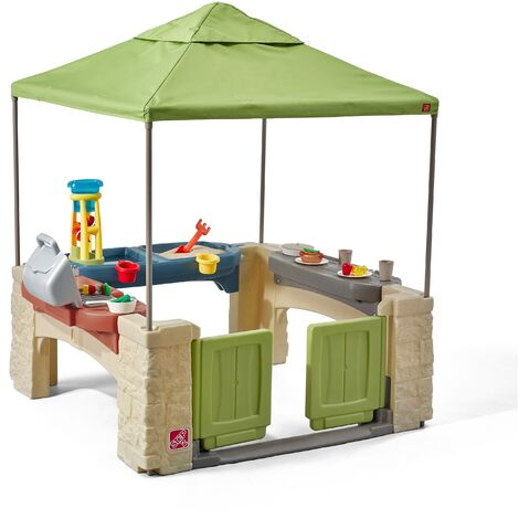 Step2 All Around Speelpatio Maison Enfant | Patio en plastique pour enfants avec cuisine et accessoires | Comprend table de jeu sable et eau