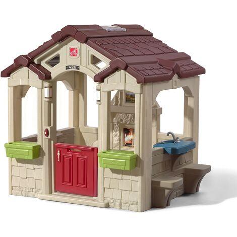 Step2 Charming Cottage Maison Enfant en Plastique | Maison de Jeux pour l'extérieur / jardin | Maisonnette / Cabane de Jeu avec Cuisine, Table Pique Nique, Cheminée & Accessories