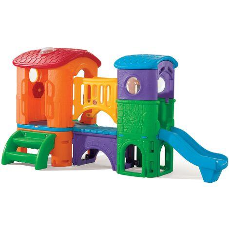 Step2 Clubhouse Climber Aire de Jeux Enfant avec 2 Toboggans | Toboggan pour Enfants | Aire de Jeux Enfant en Plastique