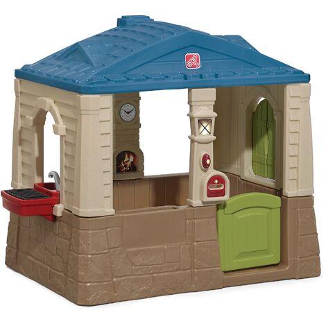 Step2 Happy Home Cottage & Grill Maison Enfant en Plastique | Maison de Jeux pour l'extérieur / jardin | Maisonnette / Cabane de Jeu avec Cuisine & Accessories