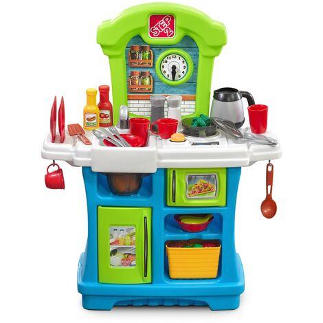 Step2 Little Cooks Kitchen Cuisine Enfant en Plastique   Jeu / Jouet Cuisine pour Enfants avec Kit d'accessoires de 21 Pièces