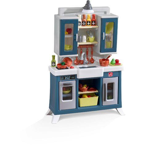 Step2 Modern Farmhouse Cuisine Enfant en Plastique en Marron | Jeu / Jouet Cuisine pour Enfants avec Kit d'accessoires de 28 Pièces