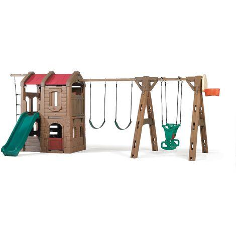 Step2 Naturally Playful Adventure Lodge Aire de Jeux avec Toboggan / Balançoire / Échelle Corde / Panier de Basketball / Glider | XXL Aire de Jeux Enfant en Plastic
