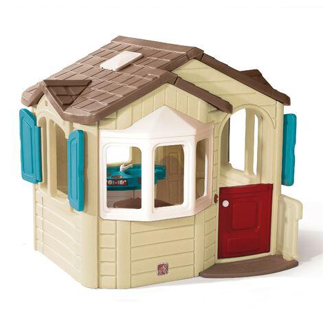 Step2 Naturally Playful Welcome Home Maison Enfant en Plastique | Maison de Jeux pour l'extérieur / jardin | Maisonnette / Cabane de Jeu avec Cuisine & Accessories