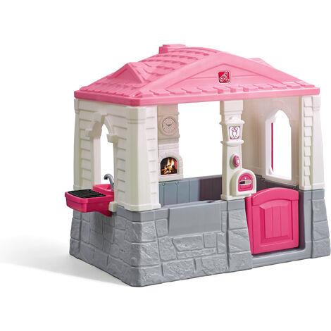 Step2 Neat and Tidy Cottage Maison Enfant en Rose en Plastique   Maison de Jeux pour l\'extérieur / jardin   Maisonnette / Cabane de Jeu avec Cuisine & Accessories