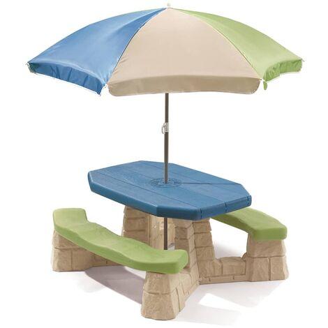 Step2 Picnic Table with Umbrella Aqua 843800 - Multicolour