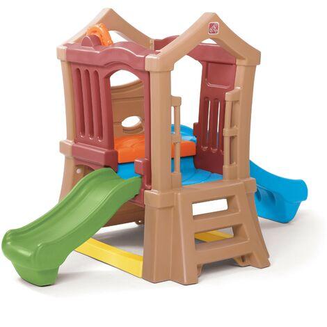 Step2 Play Up Clubhouse Climber Aire de Jeux Enfant avec 2 Toboggans | Toboggan / Jeux escalade pour Enfants