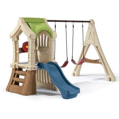 Step2 Play Up Gym Set Aire de Jeux Enfant avec Toboggan & Balançoire | Aire de jeux en Plastique pour les Enfants