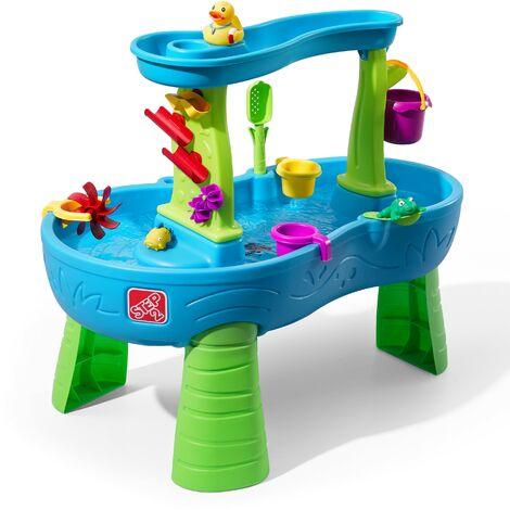 Step2 Rain Showers Splash Table d'eau avec 13 accessoires   Table de jeu enfant a eau   Table d'activité pour le jardin en bleu & vert