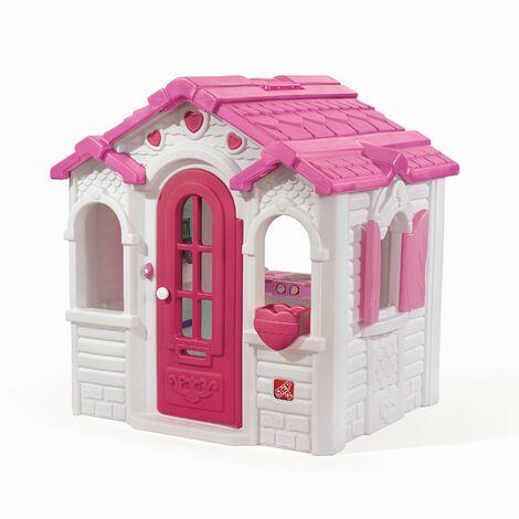 Step2 Sweetheart Maison Enfant en Plastique | Maison de Jeux rose pour l'extérieur / jardin | Maisonnette / Cabane de Jeu avec Accessories