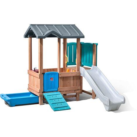 Step2 Woodland Adventure Maison Enfant avec Toboggan | Aire de Jeux pour l'extérieur | Maisonnette / Cabane de Jeu en Plastique