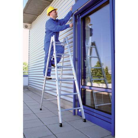 Stepladder Alu 2x 8 SPR. 3,70 m nivel-pie