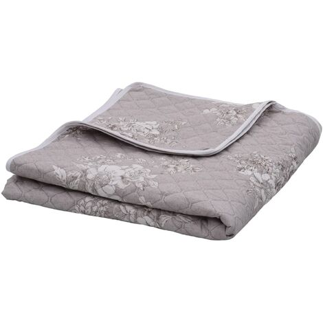 Steppdecke Taupe 230×260 cm Ultraschall Stoff