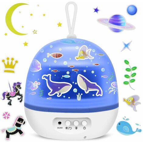 Sternenhimmel Projektor, 4 in 1 LED Sternenprojektor Licht&Ocean Wave Sterne Projektor Lampe, 360°Drehen 8 Farbmodi Nachtlicht für Kinder Schlafzimmer Dekoration Geburtstag Party Weihnachten