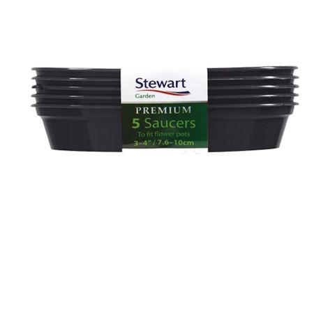 Stewart Garden 5 Premium Flower Pot Saucers - 7.6-10cm - Black (4840005)