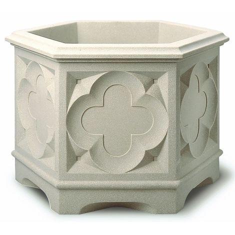 Stewart Garden Gothic Hexagonal Planter 39cm White Stone
