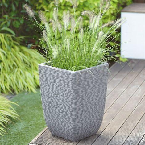 Stewarts Garden Cotswold Tall Square Planter - 33cm - Limestone Grey (5142079)