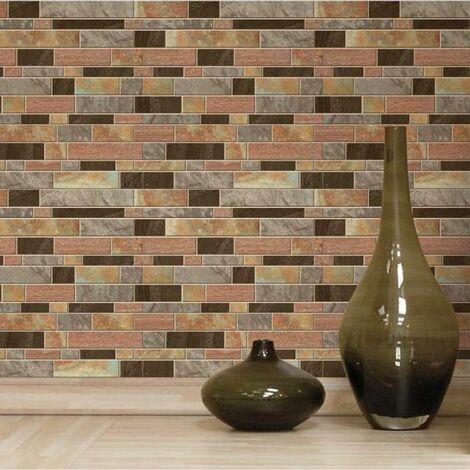 STICK TILE - <p>Sticker - Carrelage mural faïence adhésive imitation différentes pierres - 4 plaques de 26x26 cm</p> - Marron