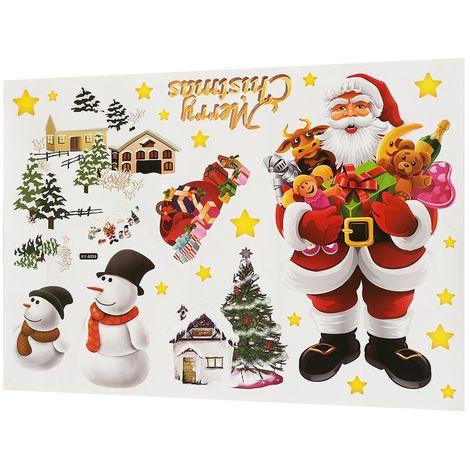 Sticker Amovible Merry Père Noël Mural fenêtre Autocollant Decal Décor