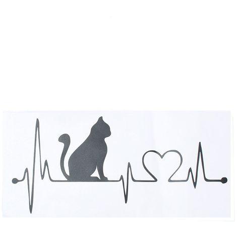 Sticker Autocollant Chat Électrocardiogramm Fenetre Pare-choc Mural Décor Maison Sasicare
