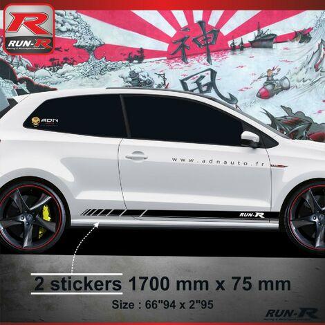 Sticker bas de caisse 009N RACING VW POLO 6R - Noir Run-R Stickers