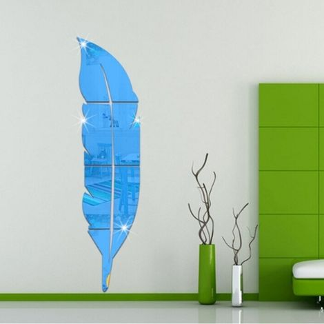 Sticker bleu DIY Plume Style Acrylique Miroir Stickers Muraux Home Room Mural Décoration Art Wall Sticker, Taille: 18 * 73cm