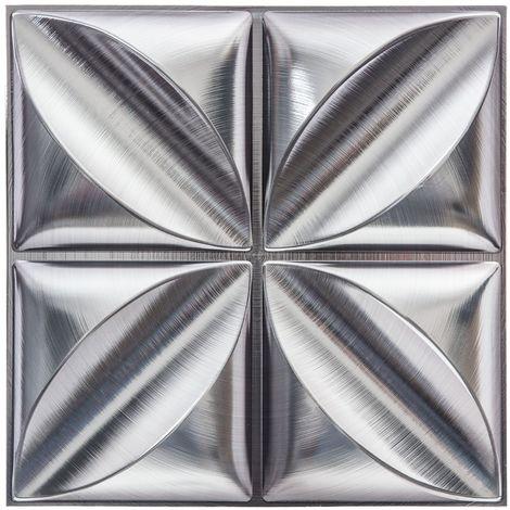Sticker carrelage Fleur - 4C X 6 - Argent - Argent