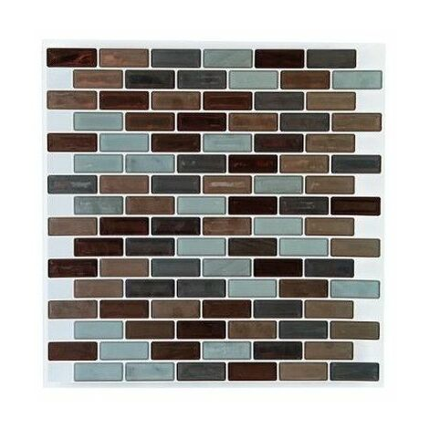 Sticker carrelage rectangle mosaïque - Lot de 2 - 25 x 25 cm - Marron et vert