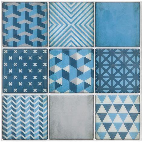 Sticker carrelage Scandinave - Bleu - Bleu