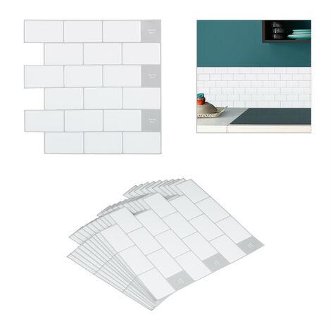 """main image of """"Sticker carrelage, set 10, panneau adhésif mural 3D, salle de bain, 30,5 x 30,5 cm, métro parisien, blanc"""""""
