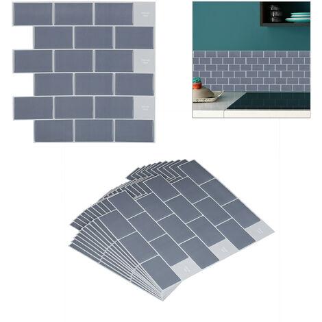 """main image of """"Sticker carrelage, set 10, panneau adhésif mural 3D, salle de bain, 30,5 x 30,5 cm, métro parisien, gris"""""""