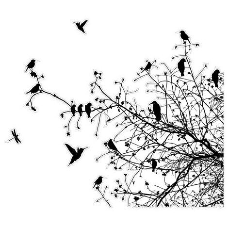 Sticker De Fenetre Branches Et Oiseaux En Automne Dimension