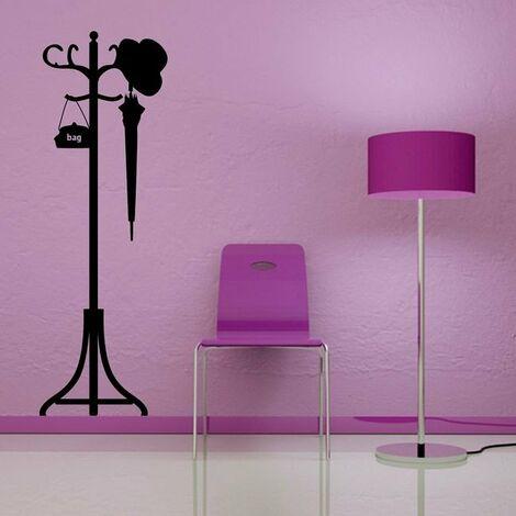 Sticker De Pared - Colgadores - para la sala de estar, la habitacion, la entrada - Negro en Vinilo, 45 x 0,4 x 50cm