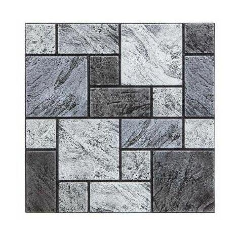 Sticker effet carreaux de mur - Lot de 2 - 30 x 30 cm - Gris