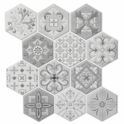 Sticker effet carrelage - 6 plaquettes de 12 hexagones - Gris