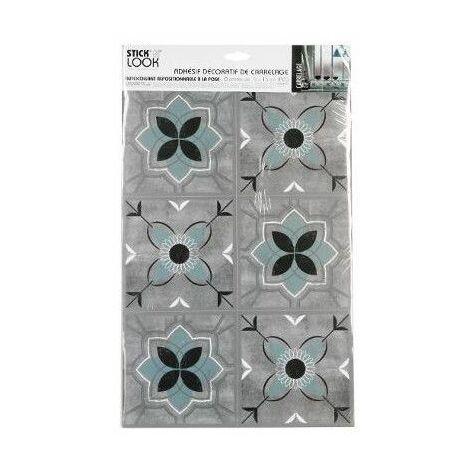 Sticker effet carrelage en ciment - 6 carreaux - Bleu et gris