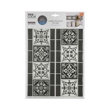 Sticker effet frise sur carrelage - L 38,5 x l 25,5 cm - Noir