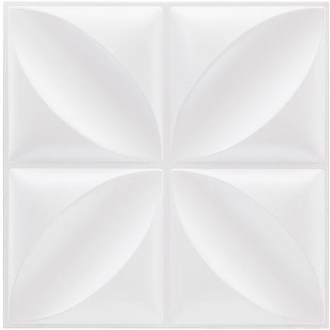 Sticker effet matelassé - 6 plaquettes de 4 carreaux - Blanc
