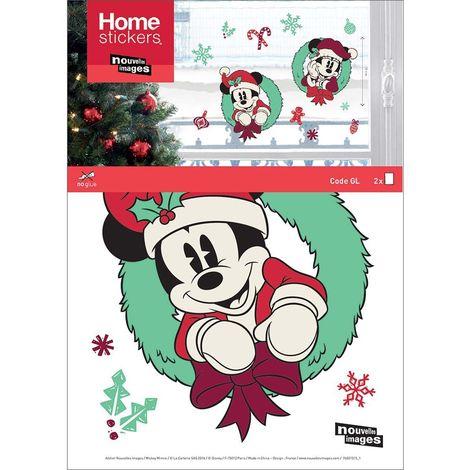 Sticker fenêtre 2 Mickeys dans leurs couronnes de sapins 24 x 3 x 36 cm - Vert