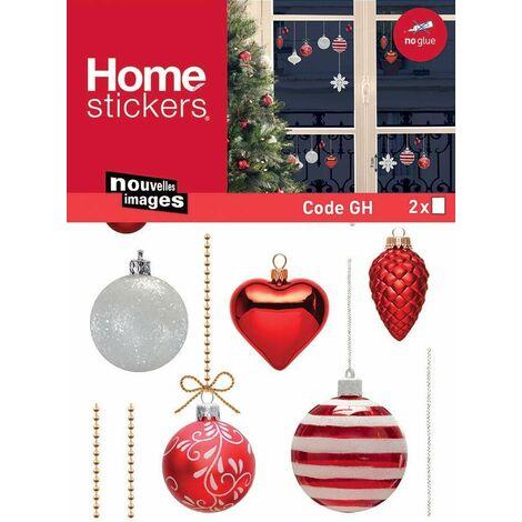 Sticker fenêtre boules de Noël 24 x 3 x 36 cm - Rouge