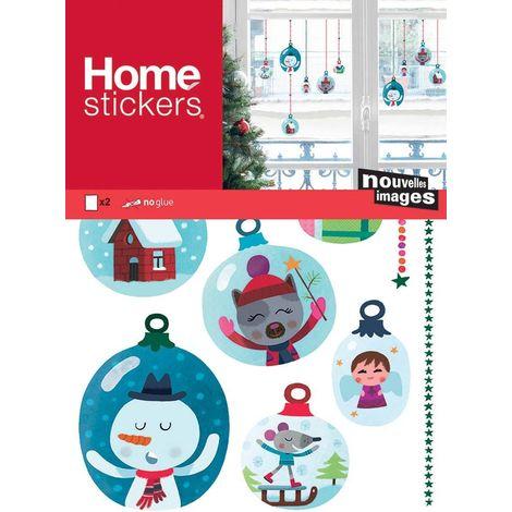 Sticker fenêtre boules de Noël avec des petits bonhommes de neige 24 x 3 x 36 cm - Bleu