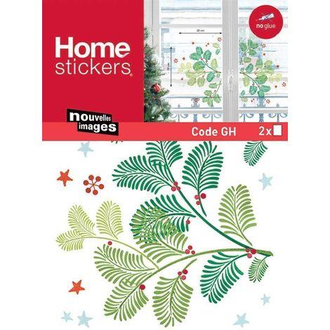 Sticker fenêtre branches de Noël vertes 24 x 3 x 36 cm - Vert