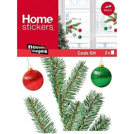 Sticker fenêtre branches de sapin 24 x 3 x 36 cm - Vert