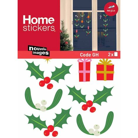 Sticker fenêtre branches houx et gui - Vert