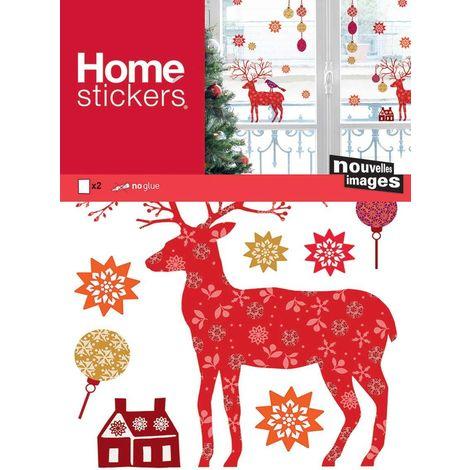 Sticker fenêtre cerfs et flocons - Rouge